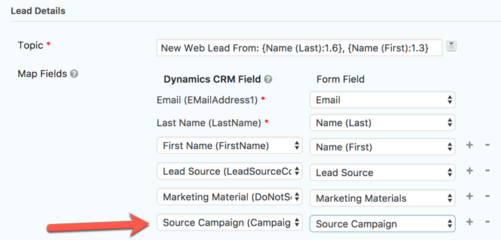 WordPress to Dynamics CRM Source Campaign Mapping